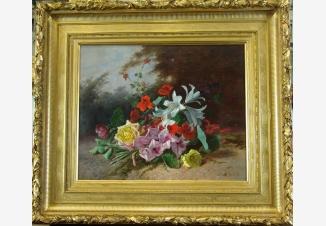 Букет цветов с розами, гладиолусами и лилиями